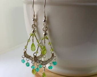 Earring Peridots , topaz and crystal 999. and 925. silver