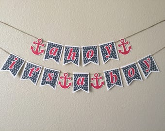 Ahoy Its A Boy Banner, Nautical Baby Shower Banner, Boy Baby Shower Banner, Its a Boy Banner, Nautical Decor,