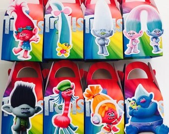 8x Trolls Lolly Loot Party Lunch Box Bag. Party Supplies Banner Bunting Flag Deco Favour