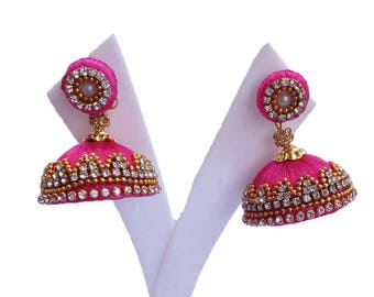 Adjustable  Pink colou Silk thread earring