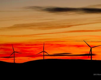 sunset behind the Wind turbines overlooking Todmorden (photograph)