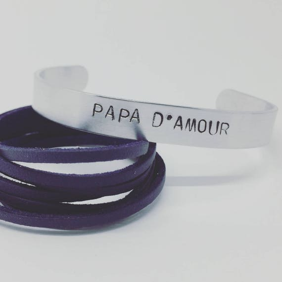 ★ Bracelet man personalized fathers ★ Creation ★ Bracelet personalized - custom silver Bangle cuff with matte