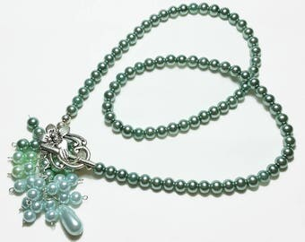 Exotic Teal Green Pearl Bridal Wedding Necklace