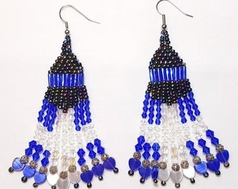 Peacock Sapphire Blue Beaded Dangle Earrings