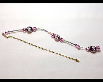 Black and Pink Lampwork Crystal Beaded Fan Pull Brass Chain
