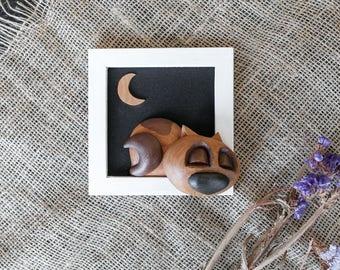 Nursery Cute Cat Wood Frame Cat Moon 3D Wall Art Cat Decor Home Wood Gift Cat Lover