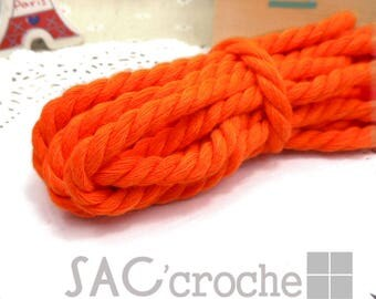 x 1 meter of 8mm Orange neon fantasy vintage cotton