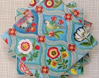 Handmade Set Of 4 Ceramic Coasters Pip Studio Blue Tiles Drinks Mats Mugs Home Decor Housewarming Gift Christmas Present Shabby Chic Country
