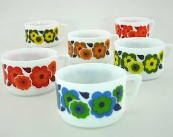 6 cups Arcopal Lotus vintage