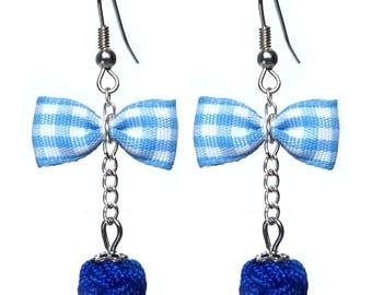 Glamorous retro BB blue Gingham Bow earrings
