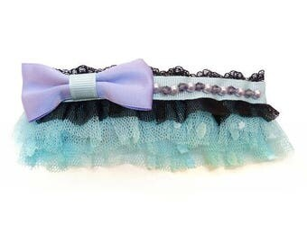 Small clip barrette type clip lolita kawaii blue black purple clear bow satin spirit