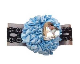 Clip type crocodile look ruffled satin blue and gray retro romantic lace black Rhinestone Heart