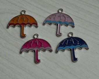 Set of 4 umbrellas metal enameled colors
