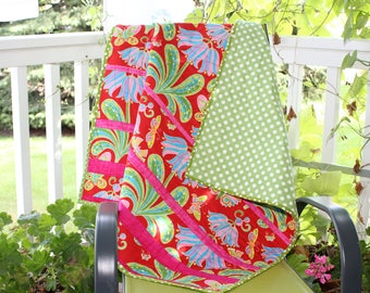 BUTTERFLIES, baby quilt, toddler quilt, Jane Sassaman fabric,Butterflies in a garden, red and green, cozy flannel back, white dots on green