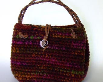 Crochet Candy Bag, Multicolor, Braided Leather Handle with Coral Button For Little Girl Best Friends Fashion