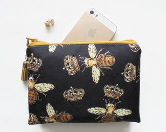 Mum gifts, sewing Pouch, gold bees, queen bees sewing bag, travel wallet, small zipper bag, wallet pouch.