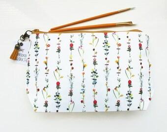 Dumpy Wash bag, Botanical print, Floral wash bag, flower stems cosmetic bag, zip bag, make up bag.