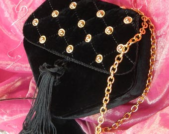 Black Velvet Shoulder Purse