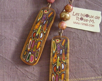 "Earrings style ""Klimt"" multicolored beads"