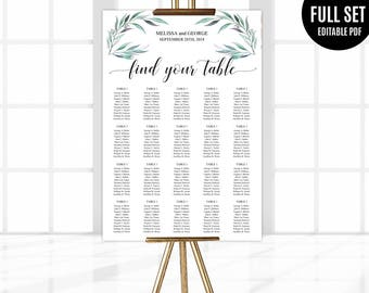 Wedding Seating Chart Template. Printable Eucalyptus Seating Chart. Find Your Table Chart. Greenery Wedding Seating Chart. Sign Poster Leafs