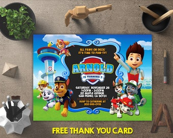 Paw Patrol Birthday Invitation, Paw Patrol Invitation, Paw Patrol Invites, Paw Patrol Printables, Paw Patrol Party, FREE 4x6 Thank You Card