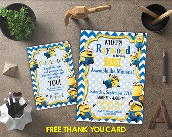 Minion Invitation, Minion Birthday, Minion Invites, Minion Printables, Minion Party, Minion Theme, FREE 4x6 Thank You Card