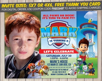 Paw Patrol Invitation, Paw Patrol Birthday, Paw Patrol Birthday Invitation, Paw Patrol Party, Paw Patrol Invite, Paw Patrol Printable