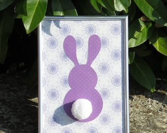 "Deco frame for child's room ""my little bunny"" colors: different shades of purple and tassel"