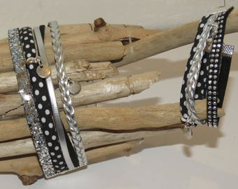 """Duo of cuff Bracelets for MOM and daughter """"small dots black"""" leather, glitter, suede, color"""