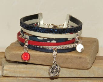 """Cuff Bracelet, blue, beige, red, silver, leather, suede sequins, flower charm beads """"LIBERTY & GLITTER"""" bracelets for women"""