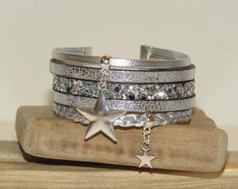 """Big star"" Cuff Bracelet leather, glitter, silver color"