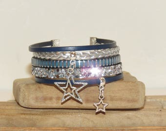 """""""Bright star"""" Cuff Bracelet leather and glitter, Navy blue color, blue, silver"""