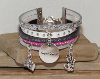 """Cuff - gift for teacher """"super teacher"""" leather and glitter, white, pink neon, grey"""