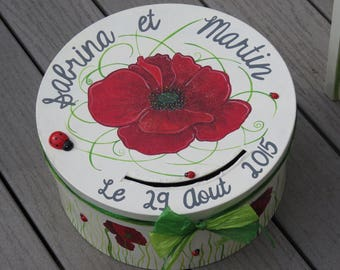 Urn, theme wedding poppies, ladybug, nature, color beige, red, green, customizable