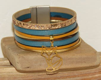 Cuff Bracelet, MULTISTRAND leather, teal, mustard yellow, gold, gold origami Fox charm, pimprenellecreations