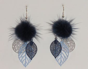 Earrings leaves, flowers, earrings, prints, earrings with tassels, Navy, sky blue, silver bealu.