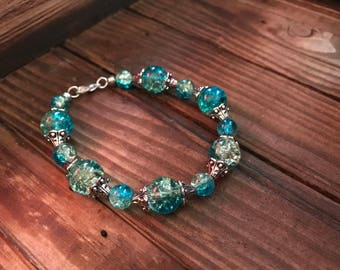 Blue/Green Glass Bead Bracelet