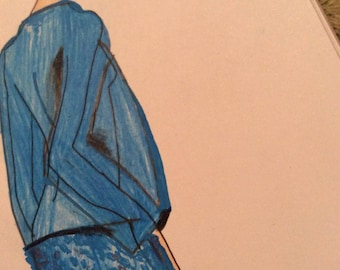 Fashion designer print of the original pencil, ink and watercolor art piece | LuCy Fashion