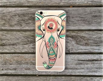 Transparent Soft TPU Gel Indian Elephant Mandala Phone Case For Iphone 6, 6s and 7