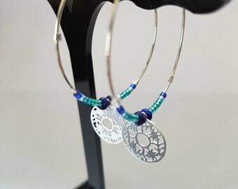 EXOTIC - Hoop earrings Silver 925 with lapis lazuli gemstone and blue Miyuki beads