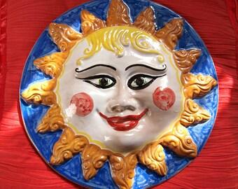 Ceramic sole di Sicilia second fire, hand made decoration