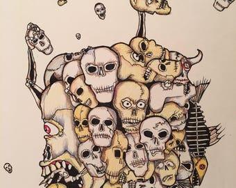 11x14 Original Pop Art Illustration Ball of Skulls