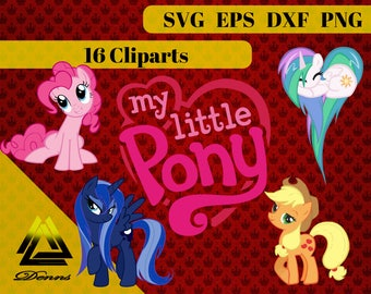 My Little Pony Clipart – 16 (Svg, Eps, Png, Dxf Files) – 300 PPI – Vectorial Images – My Little Pony svg – T-Shirt Design - Princess - Gift
