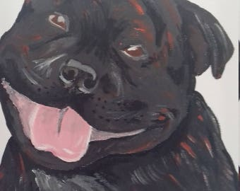 Pet painting Staffy