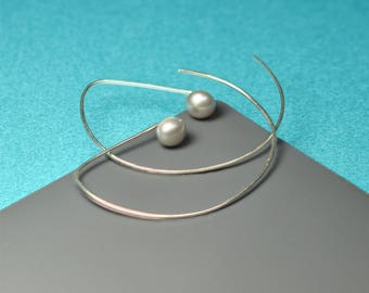 Silver Hoops, freshwater pearl, open hoops, large hoops, hoops with pearl, pearl earrings, gift for her, bridesmaid gift