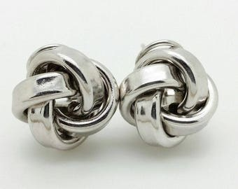 925 Sterling Silver Solid High Polish Love Knot Earrings 15mm 0.6""