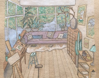 Custom Home Series / Illustration/ Watercolour / Hand drawn / Original