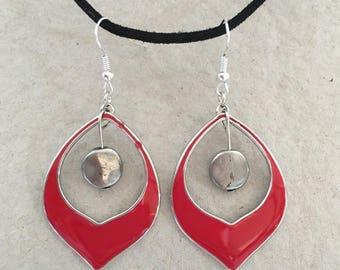 Fancy Red and Silver earrings