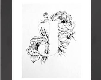 Illustrated 'J' initial print