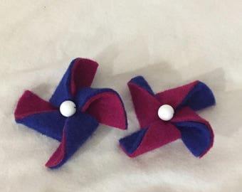 Felt Pinwheel Hair Clips
